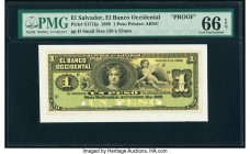 El Salvador Banco Occidental 1 Peso 30.9.1899 Pick S171fp Front Proof PMG Gem Uncirculated 66 EPQ. Three POCs.  HID09801242017  © 2020 Heritage Auctio...