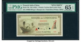 French Indochina Banque de l'Indo-Chine 1 Piastre ND (1945-51) Pick 76s Specimen PMG Gem Uncirculated 65 EPQ. Cancelled with 2 punch holes.   HID09801...