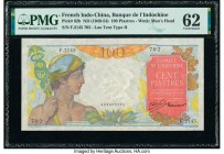 French Indochina Banque de l'Indo-Chine 100 Piastres ND (1949-54) Pick 82b PMG Uncirculated 62. PVC.  HID09801242017  © 2020 Heritage Auctions | All R...