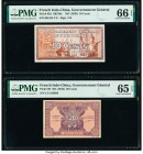 French Indochina Gouvernement General de l'Indochine 10; 20 Cents ND (1939; 1942) Pick 85d; 90 Two Examples PMG Gem Uncirculated 66 EPQ; Gem Uncircula...