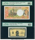 French Pacific Territories Institut d'Emission d'Outre Mer 1000 Francs ND (1996) Pick 2a PMG Gem Uncirculated 66 EPQ; French West Africa Banque de l'A...