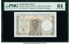 French West Africa Banque de l'Afrique Occidentale 25 Francs 19.12.1952 Pick 38 PMG Choice Uncirculated 64. Staple holes.  HID09801242017  © 2020 Heri...