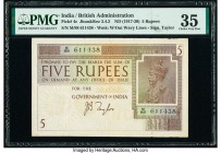 India Government of India 5 Rupees ND (1917-30) Pick 4c Jhun3.4.2 PMG Choice Very Fine 35.   HID09801242017  © 2020 Heritage Auctions | All Rights Res...