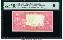 Indonesia Bank Indonesia 10 Rupiah 1960 (ND 1963) Pick R9 PMG Gem Uncirculated 66 EPQ.   HID09801242017  © 2020 Heritage Auctions | All Rights Reserve...