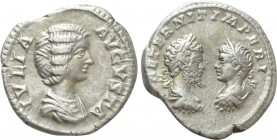 JULIA DOMNA with SEPTIMIUS SEVERUS and CARACALLA (Augusta, 198-217). Denarius