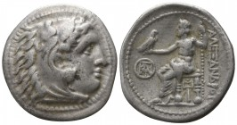 Kings of Macedon. Miletos. Demetrios I Poliorketes 306-283 BC. Struck circa 295/4 BC. In the name and types of Alexander III.. Drachm AR