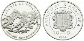 Andorra 10 Diners 2008. Averse: National arms. Reverse: Cross-country Skiing. Edge Description: Reeded. Silver. KM 273