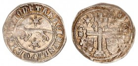 Austria Slavonia 1 Denar 1272-1290 AD. Ladislaus IV (1272-1290). Avers: + MONETA REGIS SCLAVONIA. Marten advancing left; star above and below. Rev.: P...