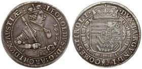 Austria 1 Thaler 1632 Hall. Archduke Leopold (1619-1632). Averse: Crowned armored bust. Reverse: Crowned shield of arms. Silver. Old patina. Dav. 3338