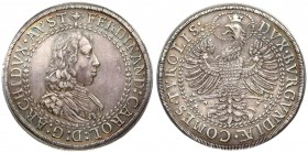 Austria 2 Thaler (1632) Hall. Archduke Ferdinand Carl (1632-1662). Double thaler; no date. Averse: Draped and armored bust w. lion shoulder right. Rev...