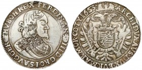 Austria Hungary 1 Thaler 1653 KB Kremnica. Ferdinand III(1637-1657). Averse: Laureate head right. Reverse: Crowned eagle with shield on breast. Silver...