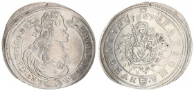 Austria Hungary 15 Krajczar 1663 KB Kremnica. Leopold I(1657-1705). Averse: Bust laureate right legends on scroll. Reverse: Radiant Madonna and child ...