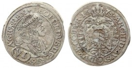 Austria 6 Kreuzer 1678 Leopold I(1657-1705). Averse: Laureate portrait facing right of Leopold I; armoured and wearing the Golden Fleece. Value below ...
