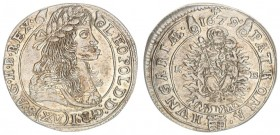 Austria Hungary 15 Krajczar 1679 KB Kremnica. Leopold I(1657-1705). Averse: Bust laureate right legends on scroll. Reverse: Radiant Madonna and child ...