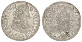 Austria Hungary 15 Krajczar 1683 KB Kremnica. Leopold I(1657-1705). Averse: Bust laureate right legends on scroll. Reverse: Radiant Madonna and child ...
