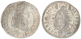 Austria Hungary 15 Krajczar 1686 KB Kremnica. Leopold I(1657-1705). Averse: Bust laureate right legends on scroll. Reverse: Radiant Madonna and child ...