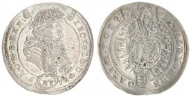 Austria Hungary 15 Krajczar 1689 KB Kremnica. Leopold I(1657-1705). Averse: Bust laureate right legends on scroll. Reverse: Radiant Madonna and child ...