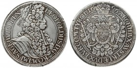 Austria 1 Thaler 1696 Vienna. Leopold I(1657-1705). Averse: Bust to the right and an inscription around. Reverse: Imperial eagle and an inscription ar...