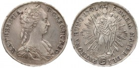 Austria Hungary 1 Thaler 1741 KB Kremnica. Maria Theresia(1740-1780). Averse: Diademed; youthful bust to the right. Reverse: Madonna standing on a cre...