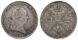 Austria Austrian Netherlands 1/4 Thaler 1797 B Kremnica. Franz II (1792-1806). Averse: Garlanded head right. Reverse: Saltire cross of knotty staves; ...