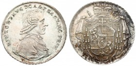 Austria SALZBURG 1 Thaler 1799 M Hieronymus(1772-1803). Averse: Bust right. Averse Legend: HIERONYMUS D G • A • ... Reverse: Cardinals' hat above oval...