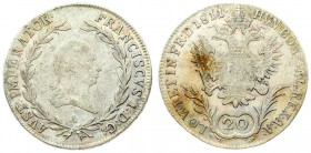 Austria 20 Kreuzer 1811A Franz I (1792-1835). Averse: Laureate head right within wreath. Reverse: Crowned imperial double eagle; denomination below. R...