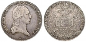 Austria 1 Thaler 1815 A Vienna. Franz II (1804-1835). Averse.: Laureate head right. Reverse: Crowned imperial double eagle facing with wings spread ho...