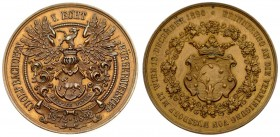 Austria Medal 1890 To the union of Nussdorf with Vienna. BACHOFEN v.ECHT Adolf (1830-1922). AE medal from Jauner. Averse: crowned coat of arms of Nuss...