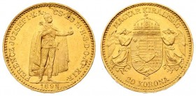 Austria Hungary 20 Korona 1898 KB Kremnitz. Franz Joseph I(1848-1916). Averse: Emperor standing. Reverse: Crowned shield with angel supporters. Gold. ...