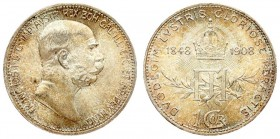 Austria 1 Corona 1908 60th Anniversary of Reign. Franz Joseph I (1848-1916). Averse: Head right. Reverse: Crown at top divides dates; FII on spray at ...