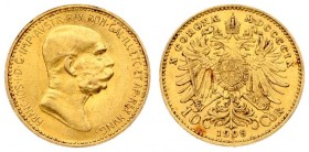 Austria 10 Corona 1909 - MDCCCCIX Franz Joseph I(1848-1916). Averse: Head right. Reverse: Crowned double eagle; date and value at bottom. Gold. KM 281...