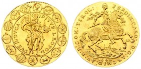 Austria 2 Ducat 1963-1642 Restrike. Averse: Ferdinand Karl on horseback right divides date; city in background. Averse Legend: FERDIN: CAROL • D:G: AR...