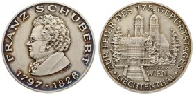 Austria Medal Franz Schubert (1972). Franz Schubert medal 1797-1828 Lichtenthal for the free of his 175th birthday. Silver. Weight approx: 16.78 g. Di...