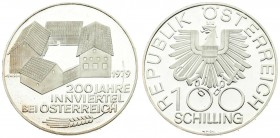 Austria 100 Schilling 1979 200th Anniversary - Inn District. Averse: Imperial eagle with shield on breast and value. Reverse: Buildings; inscriptions ...