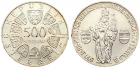 Austria 500 Schilling 1985 500th Anniversary - Canonization of Leopold III. Averse: Value within circle of shields. Lettering: REPUBLIK · ÖSTERREICH ·...