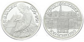 Austria 100 Schilling 1991. Averse: Mozart's Vienna Years- Burgtheater; value below. Reverse: Mozart seated at piano; left; two dates at right. Edge D...