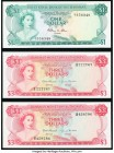 Bahamas Monetary Authority 3 Dollars 1968 Pick 28 Two Examples Crisp Uncirculated; Bahamas Central Bank 1 Dollar 1974 Pick 35 Crisp Uncirculated.   HI...