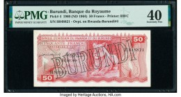 Burundi Banque du Royaume du Burundi 50 Francs 1960 (ND 1964) Pick 4 PMG Extremely Fine 40.   HID09801242017  © 2020 Heritage Auctions | All Rights Re...