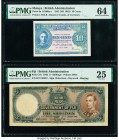 Fiji Government of Fiji 5 Shillings 1.1.1942 Pick 37e PMG Very Fine 25. Malaya Board of Commissioners of Currency 10 Cents 1941 (ND 1945) Pick 8a KNB8...