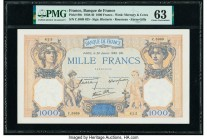 France Banque de France 1000 Francs 26.1.1939 Pick 90c PMG Choice Uncirculated 63. Pinholes.  HID09801242017  © 2020 Heritage Auctions | All Rights Re...
