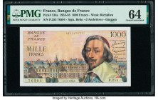 France Banque de France 1000 Francs 5.4.1956 Pick 134a PMG Choice Uncirculated 64. Pinholes.  HID09801242017  © 2020 Heritage Auctions | All Rights Re...