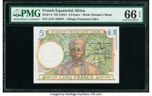 French Equatorial Africa Afrique Francaise Libre 5 Francs ND (1941) Pick 6 PMG Gem Uncirculated 66 EPQ.   HID09801242017  © 2020 Heritage Auctions | A...