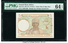 French West Africa Banque de l'Afrique Occidentale 5 Francs 2.3.1943 Pick 26 PMG Choice Uncirculated 64 EPQ.   HID09801242017  © 2020 Heritage Auction...