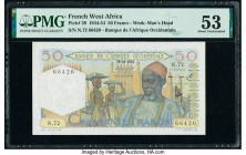 French West Africa Banque de l'Afrique Occidentale 50 Francs 28.10.1954 Pick 39 PMG About Uncirculated 53.   HID09801242017  © 2020 Heritage Auctions ...
