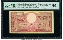 Indonesia Bank Indonesia 50 Rupiah ND (1957) Pick 50* Replacement PMG Choice Uncirculated 64 EPQ.   HID09801242017  © 2020 Heritage Auctions | All Rig...