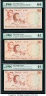 Israel Bank of Israel 50 Lirot 1960 / 5720 Pick 33b; 33d; 33e Three Examples PMG Choice Uncirculated 64 EPQ (2); Choice Uncirculated 64. Pick 33d; min...