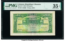 Lebanon Republique Libanaise 50 Piastres 1.8.1942 Pick 37 PMG Choice Very Fine 35 EPQ.   HID09801242017  © 2020 Heritage Auctions | All Rights Reserve...