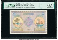 Maldives Maldivian State Government 5 Rufiyaa 1947 / AH1367 Pick 4a PMG Superb Gem Unc 67 EPQ.   HID09801242017  © 2020 Heritage Auctions | All Rights...