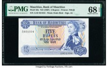 Mauritius Bank of Mauritius 5 Rupees ND (1967) Pick 30c PMG Superb Gem Unc 68 EPQ.   HID09801242017  © 2020 Heritage Auctions | All Rights Reserved