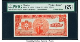 Mexico Banco de Mexico 2 Pesos ND (ca. 1920-30) Pick 19 Printer's Essay PMG Gem Uncirculated 65 EPQ.   HID09801242017  © 2020 Heritage Auctions | All ...